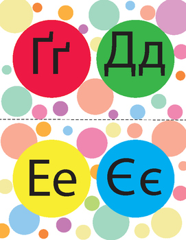Colorful Polka Dot Alphabet Posters . FREEBIE.(Ukrainian)