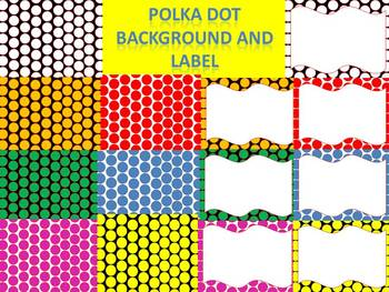 Colorful Polka Dot Background and Labels Free