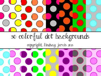 Colorful Polka-Dot Backgrounds {Commercial/Personal}