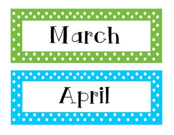 Colorful Polka Dot Calendar