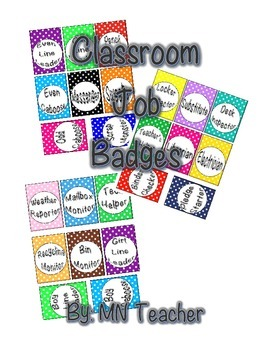Colorful Polka Dot Classroom Job Badges