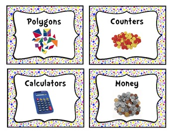 Colorful Polka-Dot Classroom Supply Bin Labels
