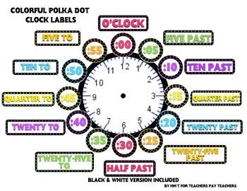 Colorful Polka Dot Clock Labels