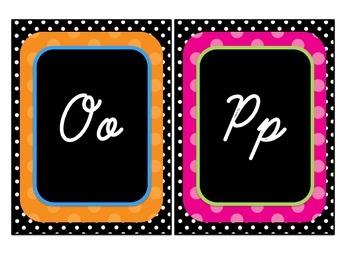 Colorful Polka Dot Cursive Alphabet