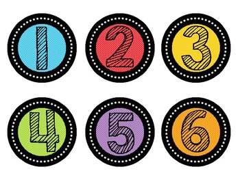 Colorful Polka Dot Numbers