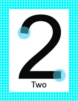 Colorful Polka Dot Touch Bump Math Number Posters