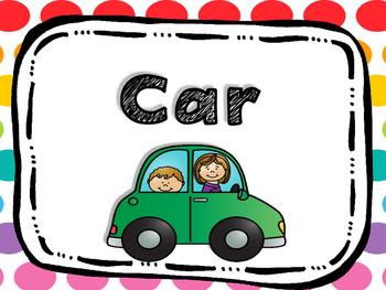 Colorful Polka Dot Transportation Clip Chart