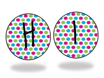 Colorful Polka Dot Word Wall Cards