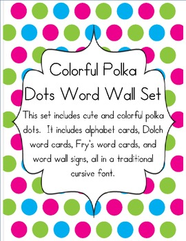 Colorful Polka Dot Word Wall Set