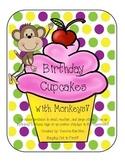 Colorful Polka Dot and Monkey Birthday Cupcake Set