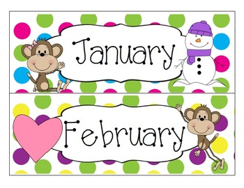 Colorful Polka Dot and Monkey Calendar Set