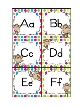 Colorful Polka Dot and Monkey Word Wall Set