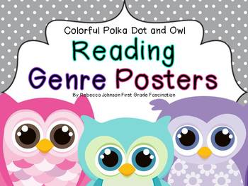 Colorful Polka Dot and Owl Reading Genre posters