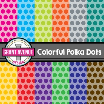 Colorful Polka Dots Digital Papers