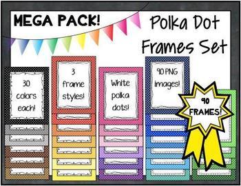 Polka Dots Colorful Graphic Frames - 90 Piece Mega Set!
