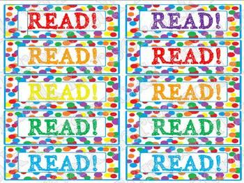 Bookmarks: primary polka dots