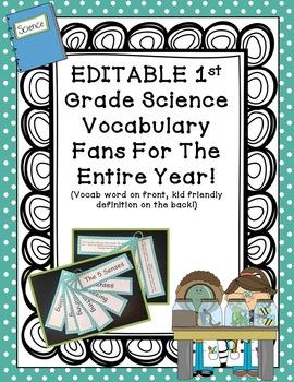 Vocabulary Flip Fans - Science - 1st Grade! EDITABLE TEXT!!!!!