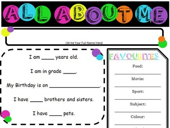 """Colorful Polka-dot """"All About Me"""" Sheet"""