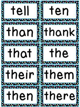 Colorful Polkadots Word Wall Words and Headers