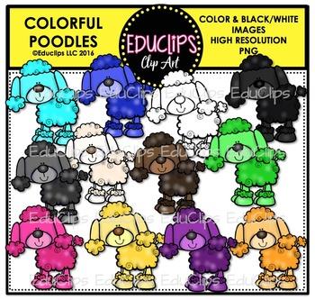 Colorful Poodles Clip Art Bundle {Educlips Clipart}