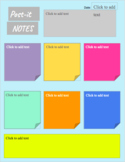 Colorful Post-it Notes Graphic Organizer (Distance Learning- Interactive Notes)