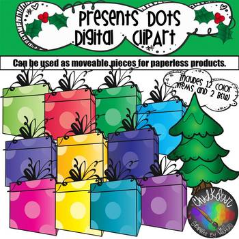 Colorful Presents with Dots Moveable PNG Graphics