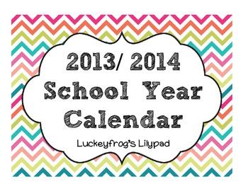 Colorful, Printable 2013- 2014 Calendar