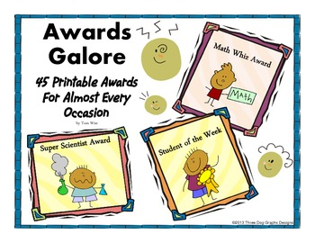 Classroom Awards - Set of 45 Printable Awards for Classrooms and Schools