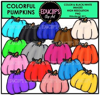 Colorful Pumpkins Clip Art Bundle {Educlips Clipart}