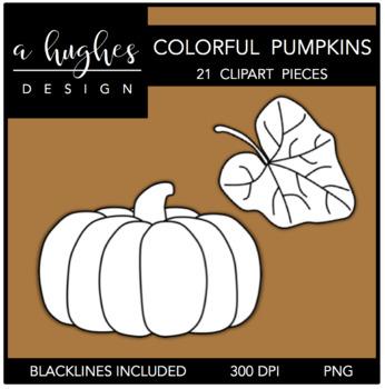 Colorful Pumpkins Clipart {A Hughes Design}