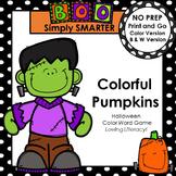 Colorful Pumpkins:  NO PREP Halloween Color Word Game