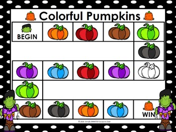 Colorful Pumpkins:  NO PREP Halloween Color Word Game