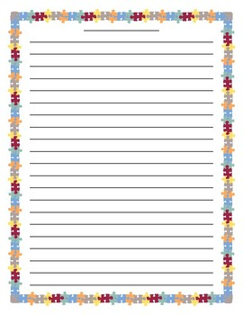 Colorful Puzzle Border Lined Paper
