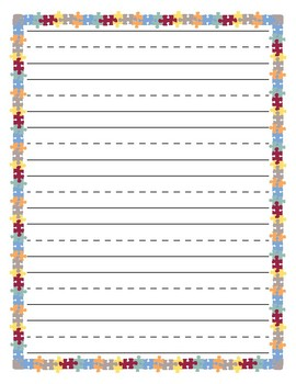 Colorful Puzzle Border Primary Lined Paper