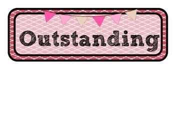 Colorful Quatrefoil Design Clip Chart and Positive Note Cards