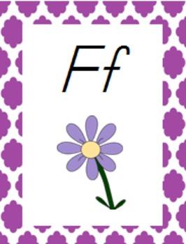 Colorful Quatrefoil Theme Classroom Bundle, D'Nealian Font
