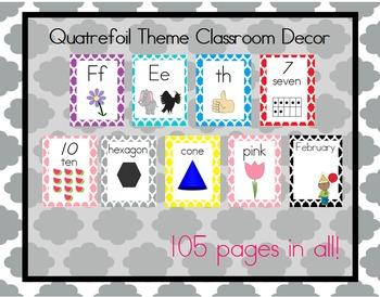 Colorful Quatrefoil Theme Classroom Bundle, Print Font