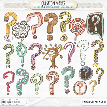 Colorful Question Mark Clipart, Decorative Question Mark Graphics, Punctuation