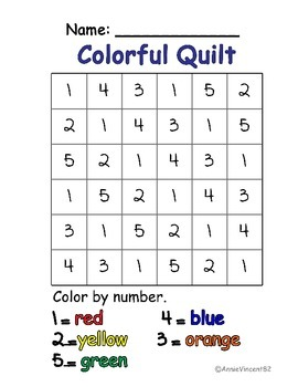 Colorful Quilt Number Page (colored version)