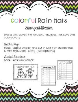 Colorful Rain Hats FREEBIE { Spring Emergent Reader}