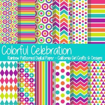 Colorful Rainbow Celebration Digital Paper/Backgrounds