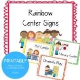 Colorful Rainbow Center Signs: Labels for Classroom Center