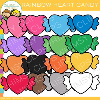 Colorful Rainbow Heart Candy Clip Art
