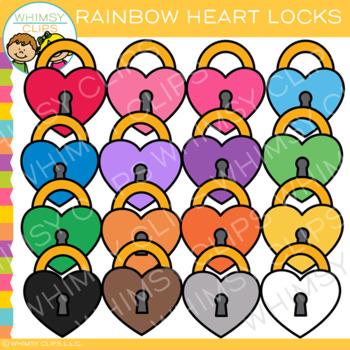 Colorful Rainbow Heart Lock Clip Art