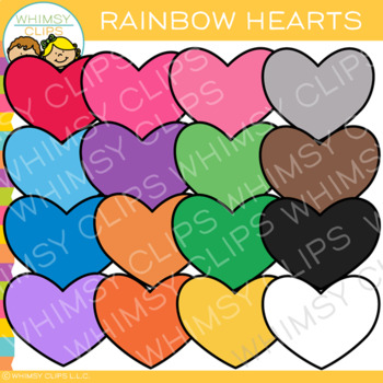 Colorful Rainbow Hearts Valentine Clip Art