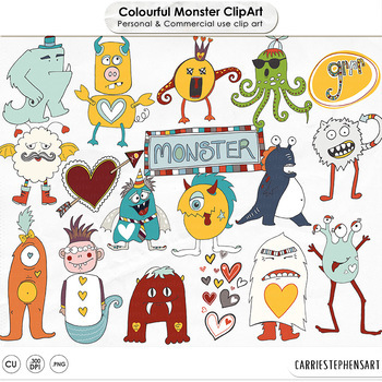 Cute Monster ClipArt, Colorful Rainbow