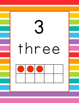 Mixed Colorful Rainbow Tens Frames Posters