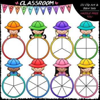 Colorful Raincoat Kid Spinners Clip Art - Games Clip Art & B&W Set