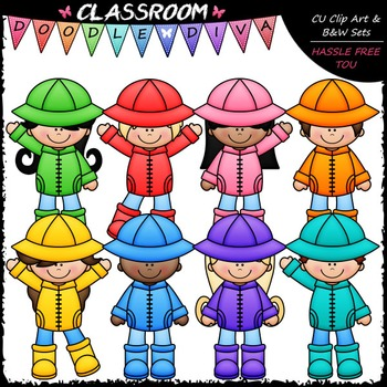 Colorful Raincoat Kids Clip Art - Rainy Day Clip Art & B&W Set