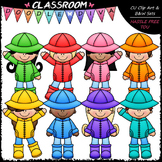 Colorful Raincoat Kids Clip Art - Rainy Day Clip Art & B&W Set